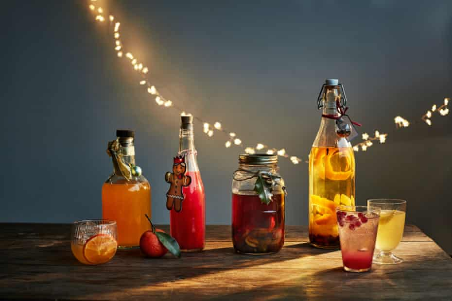 Claire Strickett and Bert Blaize's drinkable homemade gifts (L-R): clementine cordial, festive punch, chestnut brandy syrup, and the Spirit of Christmas.