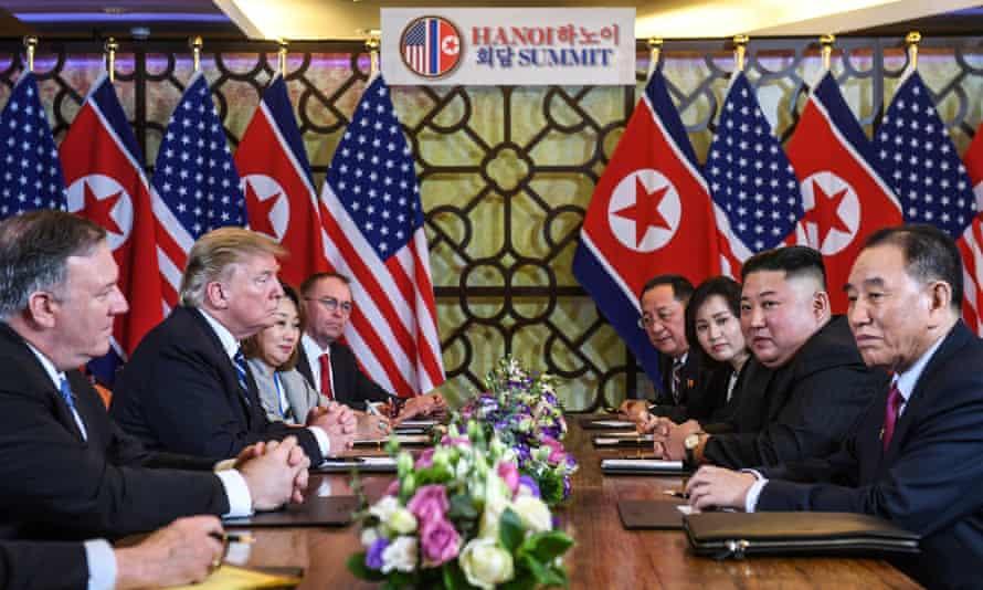 US President Donald Trump and North Korea's leader Kim Jong-un at the second US-North Korea summit.