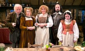 Harry Enfield, Paula Wilcox, Liza Tarbuck, David Mitchell and Helen Monks in Ben Elton's 'fiendishly cunning' Upstart Crow.