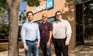 Jeff Weiner, Satya Nadella and Reid Hoffman