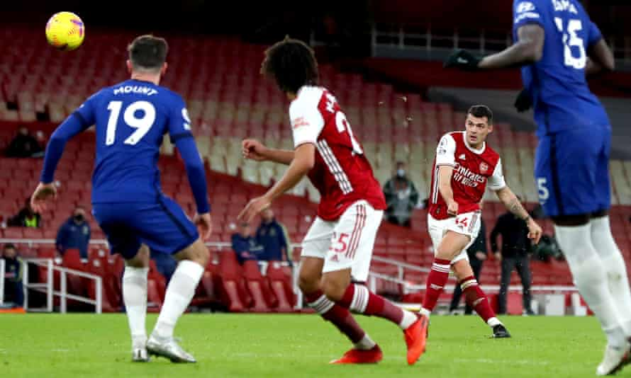 Granit Xhaka scores Arsenal's second goal against Chelsea with a quite wonderful and unexpected free-kick.