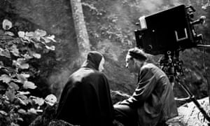 Bergman, right, with Bengt Ekerot on the set of The Seventh Seal.
