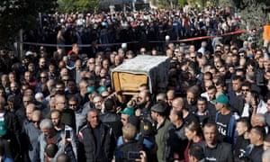 Funeral of murdered Israeli student Aiia Maasarwein her hometown of Baqa al-Gharbiya, Israel.