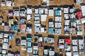 An aerial view shows an informal tent settlement housing Syrian refugees in the area of Delhamiyeh. Lebanon plays host to over one million Syrian refugees, Bekaa Valley, Lebanon