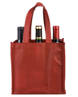 A bag with bottles of wine