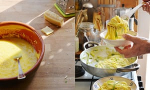 Linguine with courgettes, egg and parmesan