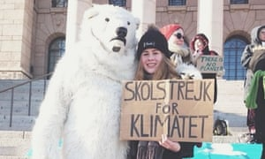 Elina, 14, from Finland, at a climate rally
