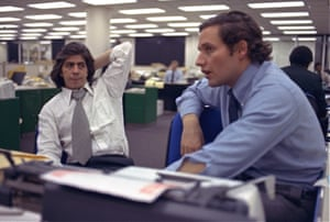 Reporters Bob Woodward, right, and Carl Bernstein, whose reporting of the Watergate case won them a Pulitzer Prize, sit in the newsroom of the Washington Post in Washington 1973.