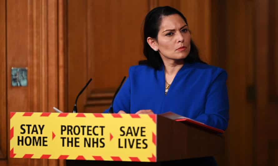 Priti Patel at a government press conference on Tuesday