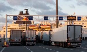 Lorries at Calais port