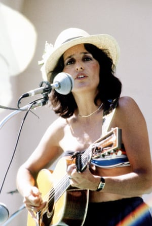 Joan Baez performs at an anti-nuclear protest concert in 1979.