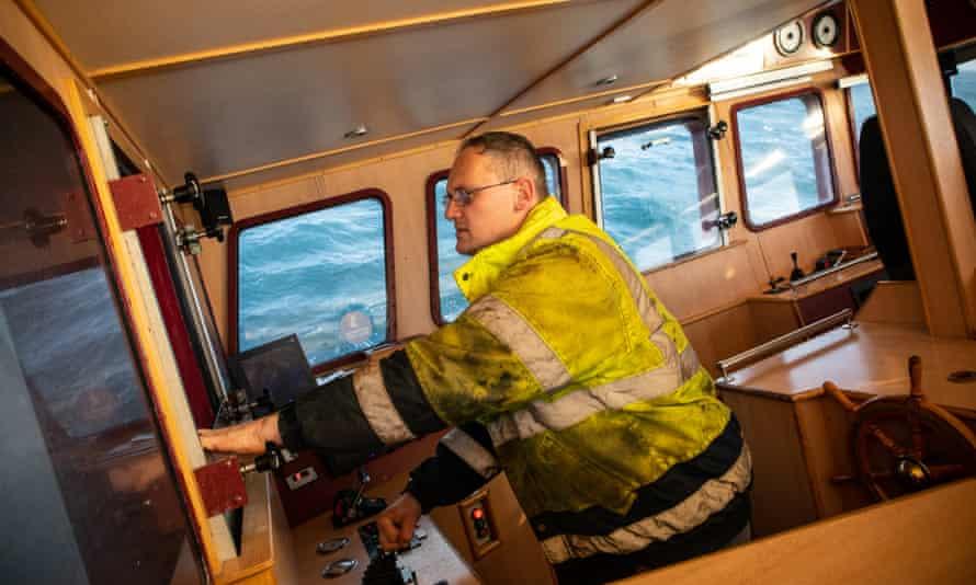 Skipper Dave Stevens gives instructions aboard Crystal Sea.