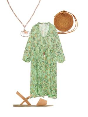 Helen SeamonsMenswear fashion editor, the Observer: 'Floaty florals make a great holiday staple.' Dress, £69.99, zara.com. Circular box bag, £78, edit58.com. Sandals, £130, ancient-greek-sandals.com. Shell and pearl necklace, £170, Wald Berlin, net-a-porter.com