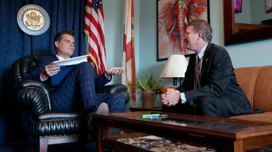 Matt Gaetz and Thomas Massie talking about fundraising in Gaetz's office in The Swamp