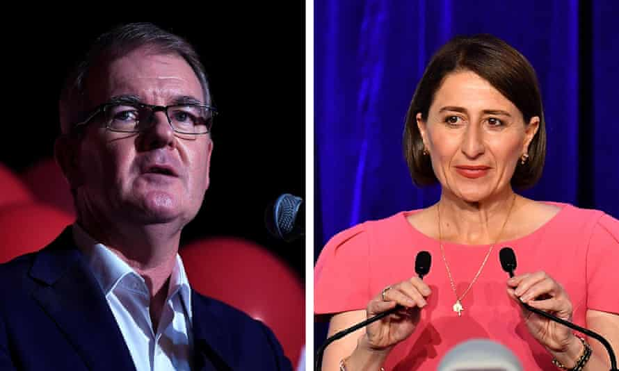 The defeated Labor leader, Michael Daley, and the re-elected NSW premier, Gladys Berejiklian