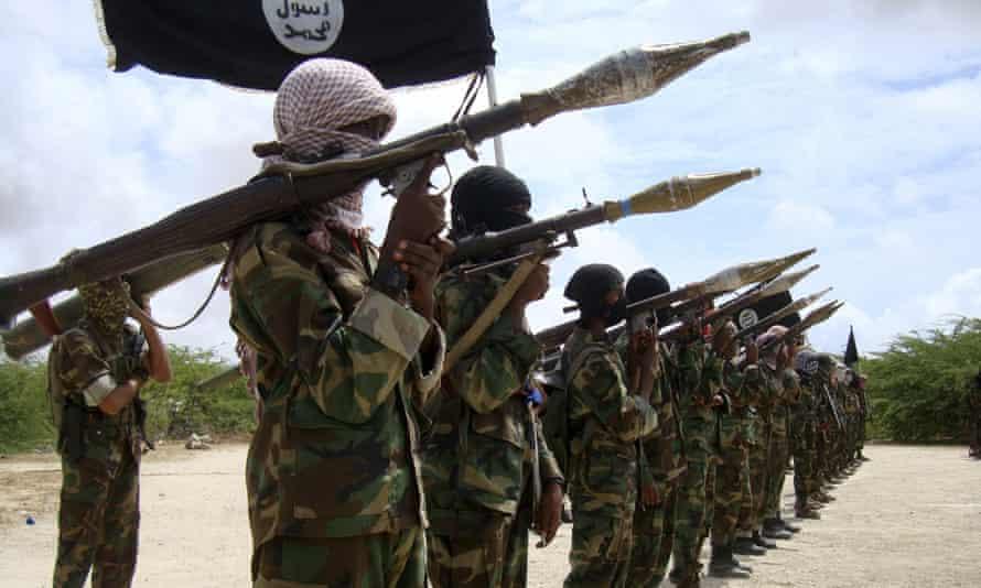 Al-Shabaab militants at a training camp in Mogadishu.