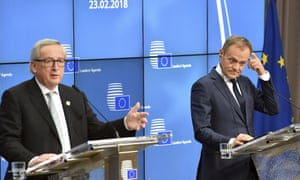 Jean-Claude Juncker (left) and Donald Tusk at a press conference at the EU summit in Brussels.