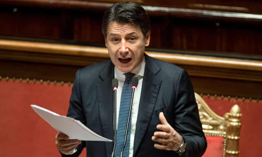 Italy's Giuseppe Conte speaks at senate meeting in Rome