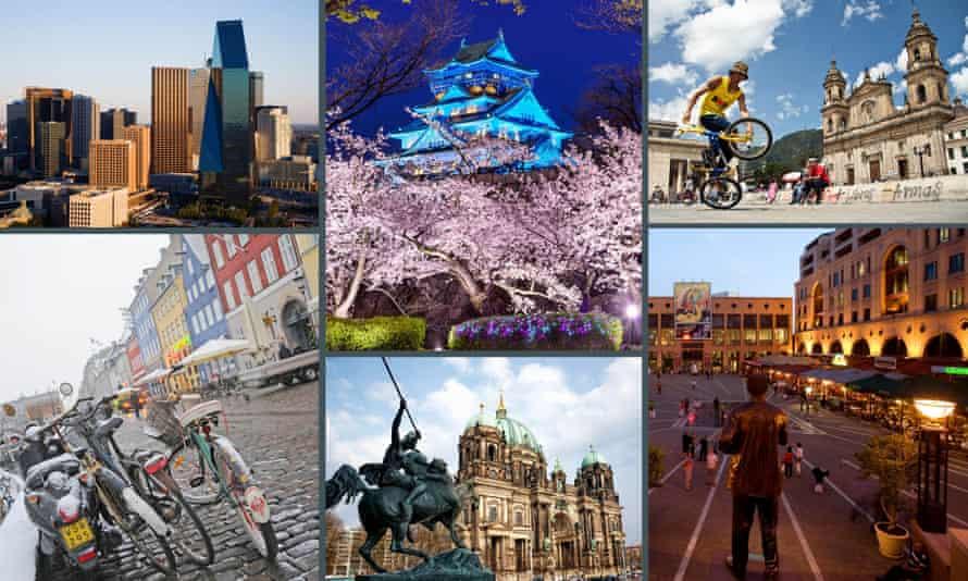 Dallas, Copenhaden, Bogota, Johannesburg, Berlin, Osaka