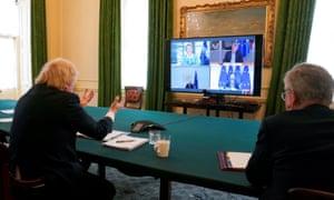 Boris Johnson, left, during a video conference call with Charles Michel, Ursula von der Leyen, David Sassoli and Michel Barnier, 15 June 2020.