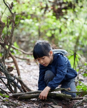 Cute Asian Little Girls Activities In The Wild In The Woods