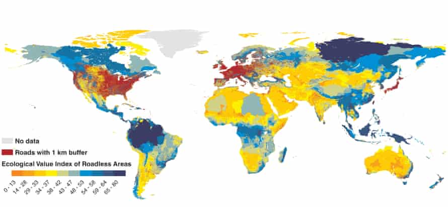 A global map of the ecological value of roadless areas