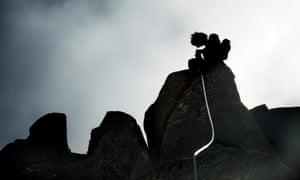 Climbing Guide John Fischer climbs Slap Dancer route on Albert's Tomb