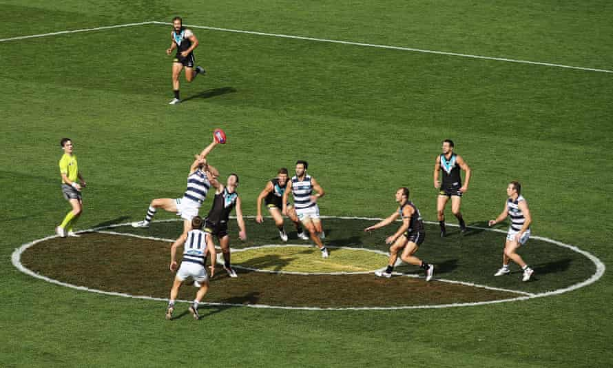 The centre of the ground shows colours of the Aboriginal flag during a previous Indigenous round.