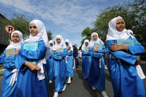 Students in blue and white dress