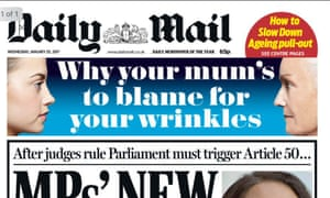 Daily Mail front page.