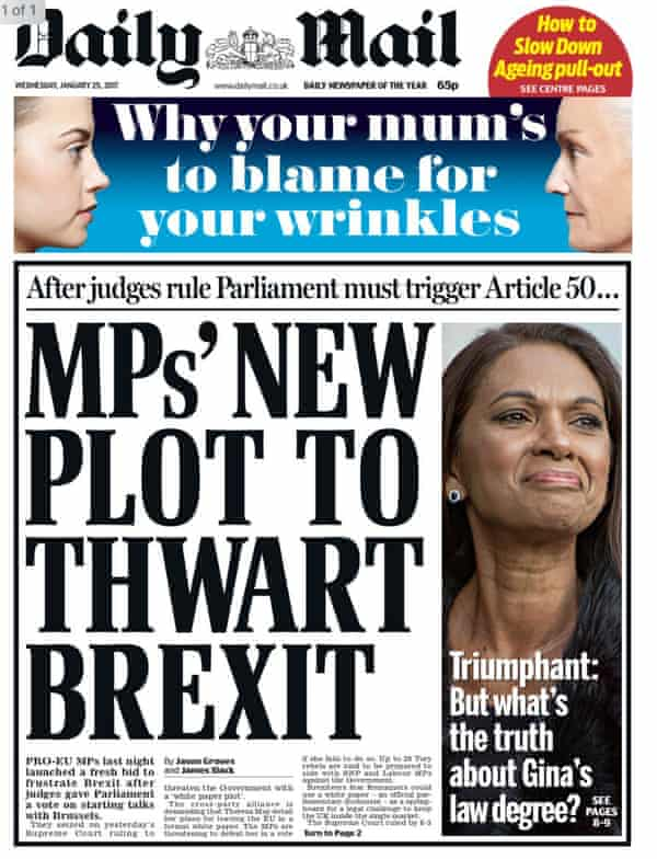 A pro-Brexit Daily Mail front page