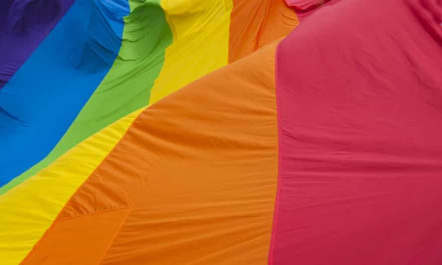 Close up of rainbow flag.