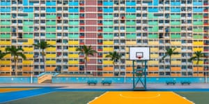 A bright but deserted playground in the Choi Hung Estate, Hong Kong