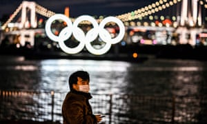 The Olympic rings lit up in Tokyo