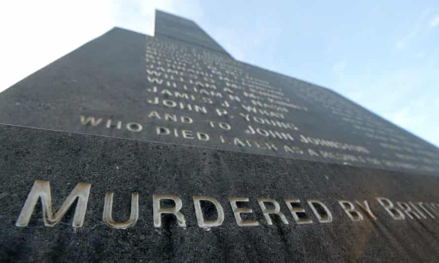 View of the Bloody Sunday memorial depicting the names of the 13 who died on Bloody Sunday and John Johnson who died later