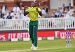Ngidi celebrates after taking Wahab for four.