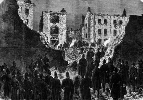An illustration of the aftermath of a bombing carried out by Fenian Irish nationalists at Clerkenwell Prison, London, 1867.