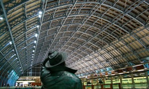John Betjeman's statue, St Pancras, London. The poet was a prominent voice who called for the station to be saved from demolition.