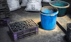 Briquettes, made with human waste and charcoal dust