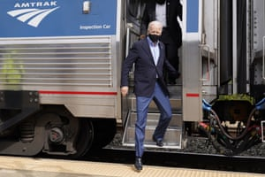 Joe Biden steps off the train at Amtrak's Alliance Train Station in Alliance, Ohio.