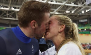 Jason Kenny celebrates with Laura Trott after the men's keirin final at the Rio Olympic Velodrome.