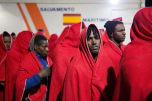 Granada, Spain About 30 migrants who were rescued at sea