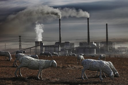 Locals have installed sheep sculptures to replace real animals in a polluted field in Holingol, Mongolia.