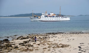 RMV Scillonian III Ferry passes en-route from Penzance to St Mary's, Isles of Scilly