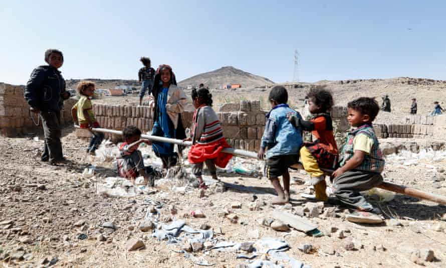 Children play at a camp on the outskirts of Sana'a, Yemen