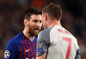 FBL-EUR-C1-BARCELONA-LIVERPOOLBarcelona's Lionel Messi lets Liverpool's James Milner know what he thinks of that challenge.