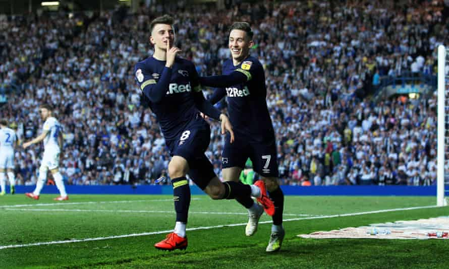 Mason Mount (left) gestures to the Elland Road crowd after scoring for Derby in last season's Championship play-off second leg.