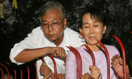 Htin Kyaw with Aung San Suu Kyi at her residence on the day of her release from house arrest in Yangon, where she was detained for nearly two decades.