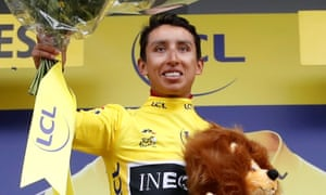 Egan Bernal wears the yellow jersey after the curtailed stage 19.
