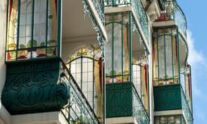 Colourful glass in art nouveau balconies in La Chaux-de-Fonds.